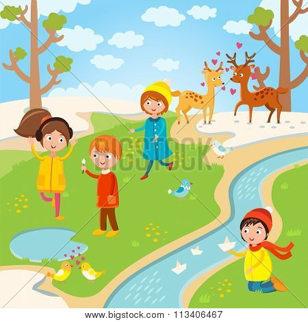 Spring or summer kids playing outdoor. Nature, holidays children. Kids play vector. Children playing. Spring, summer, love, childhood and friends. Kids playing vector. Boys, girls nature vector