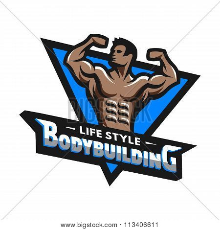 Posing bodybuilder, badge, emblem.