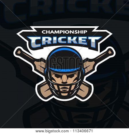 Cricket player sport emblem, logo.