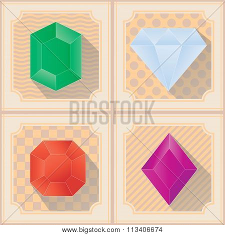 Seamless pattern with Vector diamond icons with long shadow