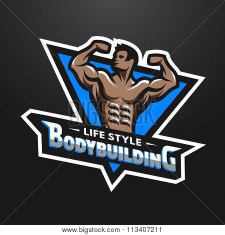 Posing bodybuilder sport emblem.