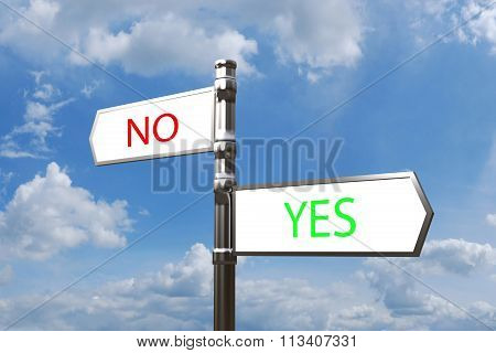 Metal Signpost No Yes Balance With Opposite Directions