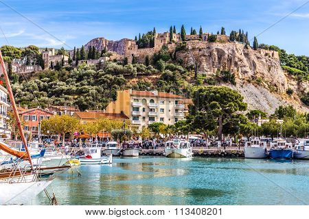 Boats In The Port And Chateau-cassis,france