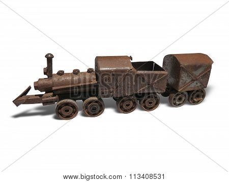 Vintage Brown Rusty Steam Locomotive Iron Model Isolated