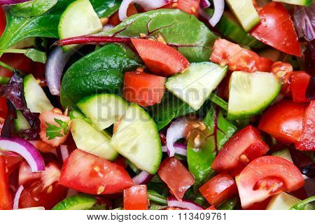 Fresh Raw Vegetable Mixed Salad. Close Up,  View From Top