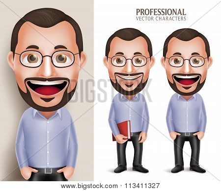 Professional Old Teacher Professor Man Vector Character Holding Book