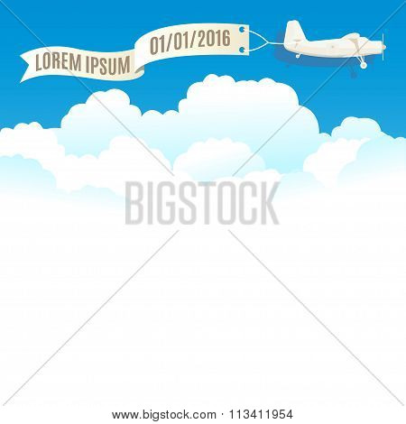 Flying Vintage Plane With Banner And White Clouds. Vector Illustration, Template For Text