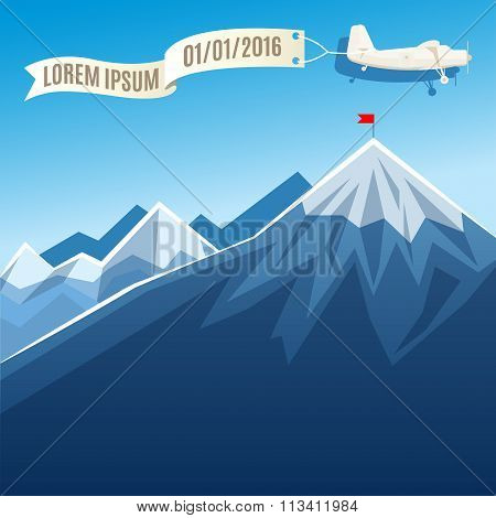 Flying Vintage Plane With Banner And Mountain Peak With Flag. Vector Illustration, Template For Text