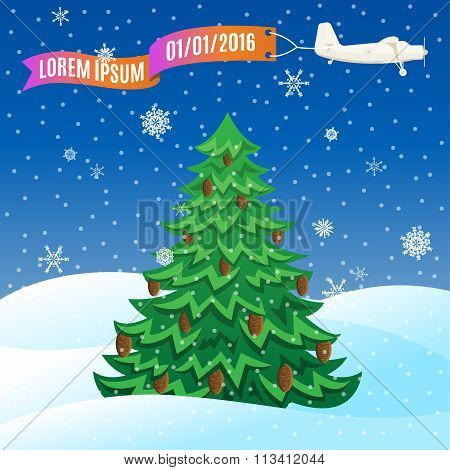 Flying Vintage Plane With Banner And Evergreen Tree, Winter Scene. Vector Illustration