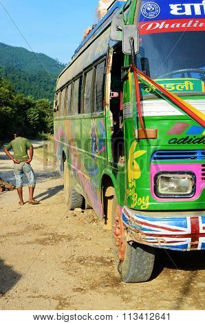 Typical public bus in Nepal