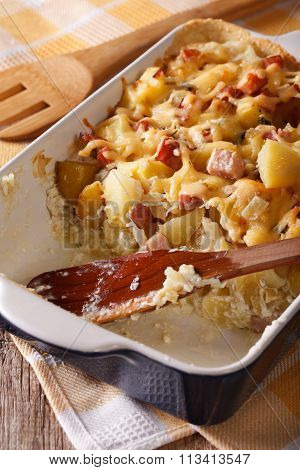 French Tartiflette Potatoes With Bacon And Cheese Close Up