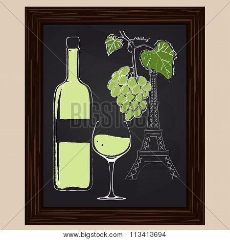 White Wine Bottle And Glass On Background Eifel Tower