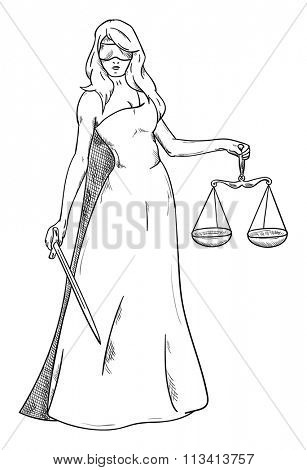 vector - goddess of Justice - isolated on background