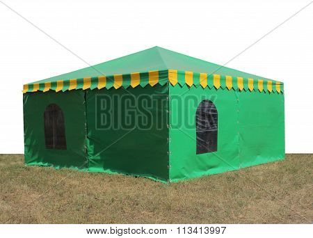 Green Very Big  Tent In The Field