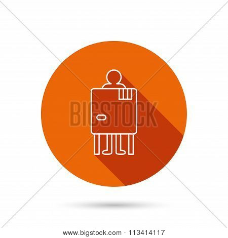 Beach changing cabin icon. Human symbol.