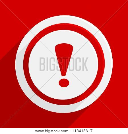 exclamation sign red flat design modern vector icon for web and mobile app