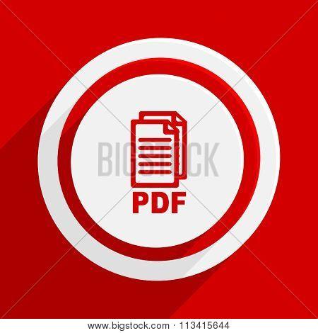 pdf red flat design modern vector icon for web and mobile app,