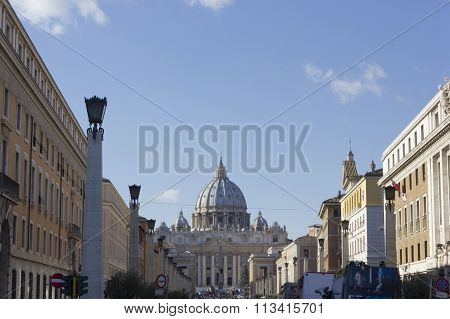 View From Via Della Conciliazione Of Saint Peter Basilica In Vatican