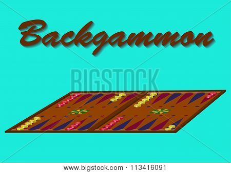The game of backgammon on the turquoise background. Vector illustration