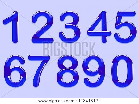 The figures blue with shadow on a purple background. Vector illustration