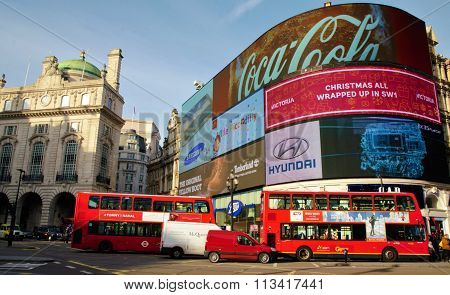 Piccadilly Circus red London buses