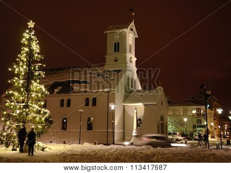 Christmas tree in front of a church in Reykjavik