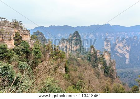scene of rock mountain in Zhangjiajie National Forest Park