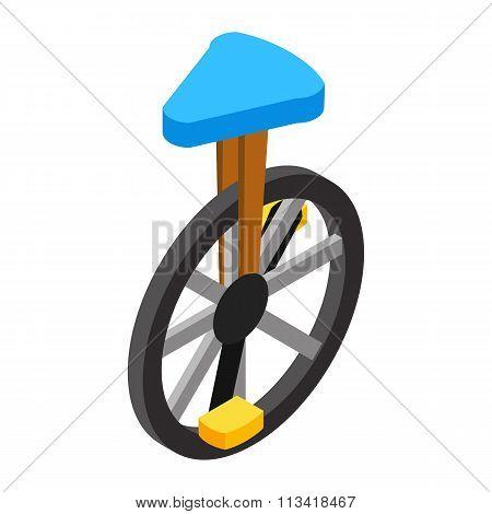 Circus unicycle isometric 3d icon