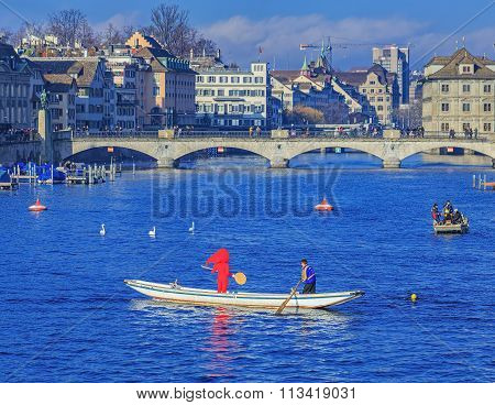 Boats On The Limmat River During The Zurich Samichlaus-schwimmen Event