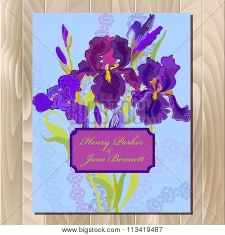 Wedding background card with purple iris flower background. Vector illustration