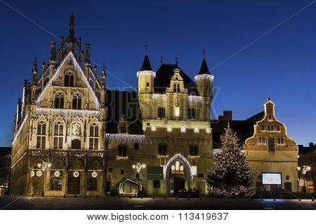 Town Hall In Mechelen During Christmas In Belgium