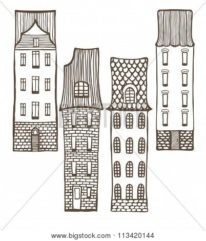 Vector Set Of Cute Colored Hand-drawn Tiled Houses