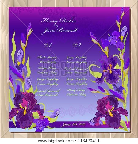 Table guest list. Background with purple iris flowers. Wedding template.