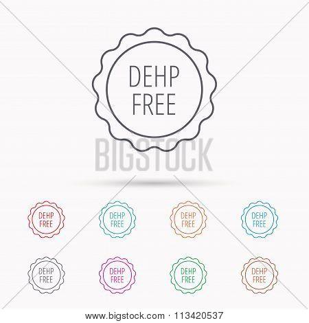DEHP free icon. Non-toxic plastic sign.