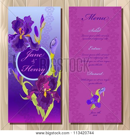 Iris flower wedding menu card. Printable Vector illustration