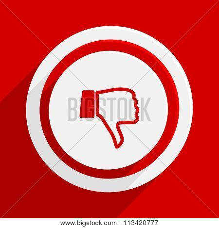 dislike red flat design modern vector icon for web and mobile app