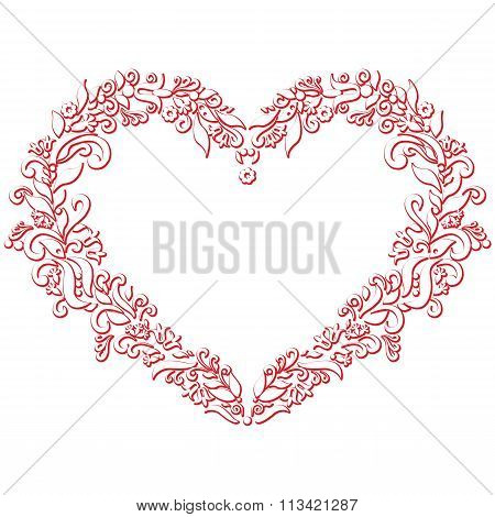 Embroidery Inspired Heart Shape In White With Floral Elements With Red Stroke 3D Effect.eps
