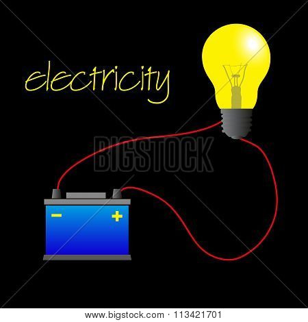 Electricity Circuit With Light Bulb And Battery Eps10