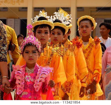 Procession of novice children in temple (begin Monk Life)