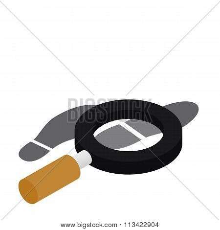 Magnifying glass and shoe printout