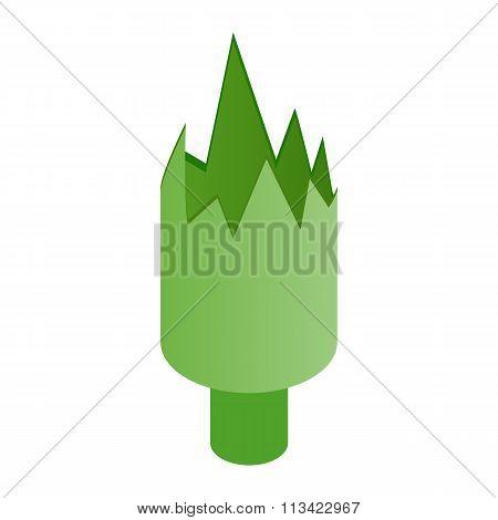 Shattered green bottle isometric 3d icon