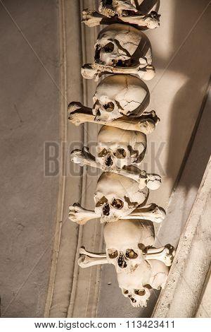 Skulls And Bones In Bone Chapel-sedlec, Kutna Hora