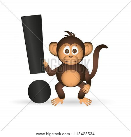 Cute Chimpanzee Little Monkey And Exclamation Mark Eps10