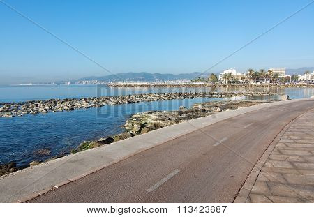 Sunny Bike Route Along The Mediterranean