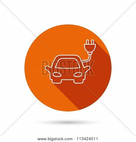 Electric car icon. Hybrid auto transport sign.
