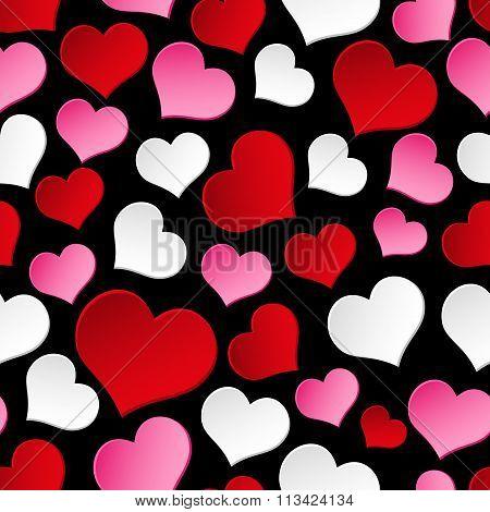 Color Valentine Hearths Symbol Seamless Dark Pattern Eps10