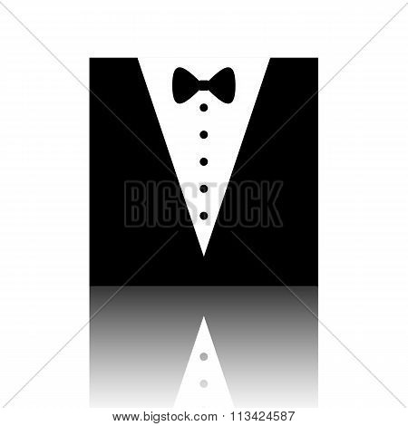Tuxedo with bow silhouette. Vector illustration