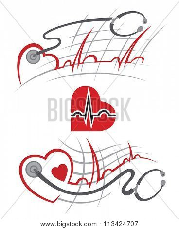 set of illustration with electrocardiogram and stethoscope