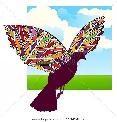 Bird with patterned wings -stained glass  effect