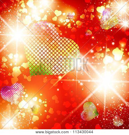Bright Disco Heart Background